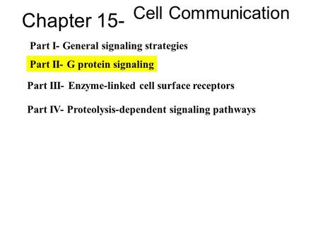 Chapter 15- Cell Communication Part I- General signaling strategies Part II- G protein signaling Part III- Enzyme-linked cell surface receptors Part IV-