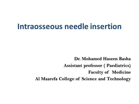 Intraosseous needle insertion