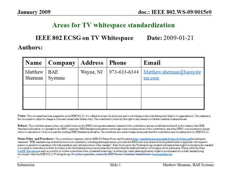 Doc.: IEEE 802.WS-09/0015r0 Submission January 2009 Matthew Sherman, BAE SystemsSlide 1 Areas for TV whitespace standardization IEEE 802 ECSG on TV Whitespace.