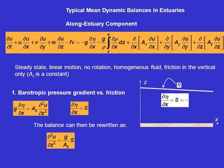 Typical Mean Dynamic Balances in Estuaries Along-Estuary Component 1. Barotropic pressure gradient vs. friction Steady state, linear motion, no rotation,