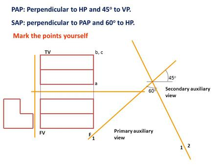 PAP: Perpendicular to HP and 45o to VP.