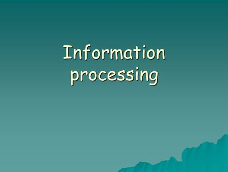 Information processing. Whiting's Model Key points  Display – the surroundings or environment.  Stimuli – the aspect of the display which the player.