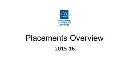 Placements Overview 2015-16. Year 1 SBT Headlines 6 Day visits- Tuesday's- 2nd February -15th March. Two day visits per age phase; two in EYFS, two in.