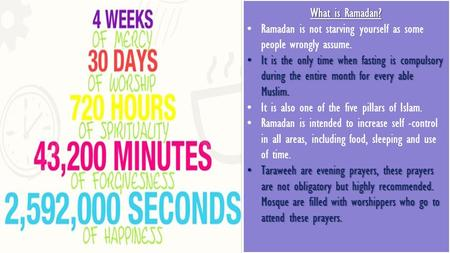 What is Ramadan? Ramadan is not starving yourself as some people wrongly assume. It is the only time when fasting is compulsory during the entire month.