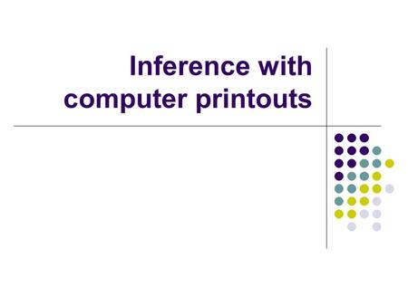 Inference with computer printouts. Coefficie nts Standard Errort StatP-value Lower 95% Upper 95% Intercept-42.409132.95436-1.28690.234113-118.40233.5838.