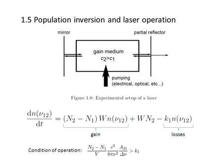 1.5 Population inversion and laser operation