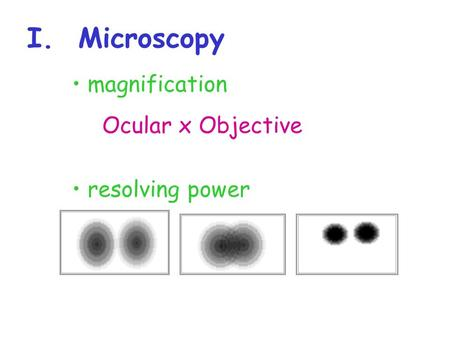 I. Microscopy magnification resolving power Ocular x Objective.