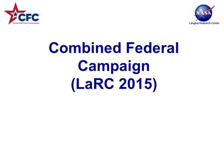 Langley Research Center Combined Federal Campaign (LaRC 2015)