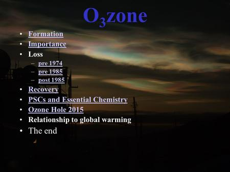O 3 zone Formation Importance Loss –pre 1974pre 1974 –pre 1985pre 1985 –post 1985post 1985 Recovery PSCs and Essential Chemistry Ozone Hole 2015 Relationship.