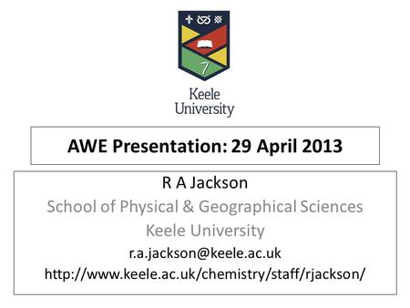 AWE Presentation: 29 April 2013