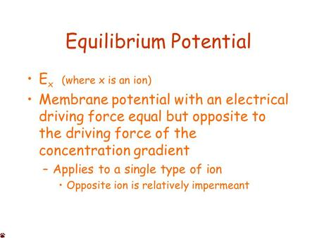 Equilibrium Potential E x (where x is an ion) Membrane potential with an electrical driving force equal but opposite to the driving force of the concentration.