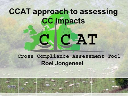 CCAT approach to assessing CC impacts Roel Jongeneel.