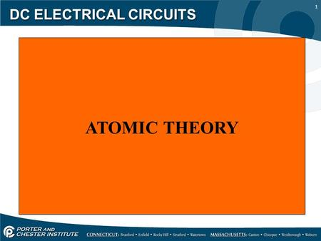 1 DC ELECTRICAL CIRCUITS ATOMIC THEORY. 2 DC ELECTRICAL CIRCUITS Objectives: List the three major parts of an atom. State the law of charges. Discuss.