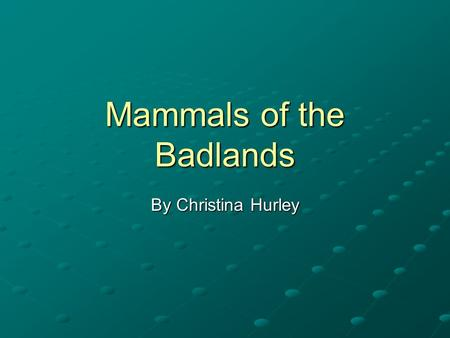 Mammals of the Badlands By Christina Hurley. Badlands: Geologic History Started forming about 75 million years ago Are composed of 6 different formations.
