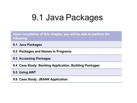9.1 Java Packages. 9.1.1 A collection of classes Allows classes to be grouped arbitrarily Hierarchical structure independent of inheritance Classes can.
