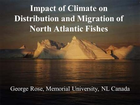 Impact of Climate on Distribution and Migration of North Atlantic Fishes George Rose, Memorial University, NL Canada.