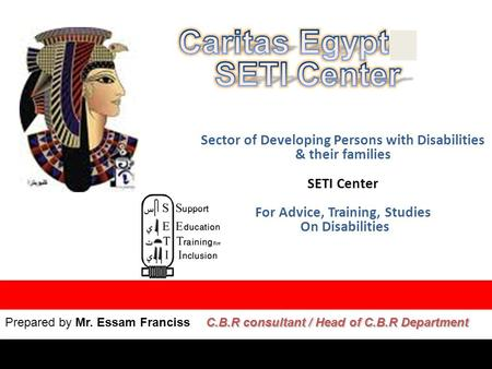 Sector of Developing Persons with Disabilities & their families SETI Center For Advice, Training, Studies On Disabilities Prepared by Mr. Essam Franciss.