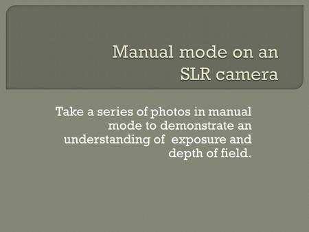 Take a series of photos in manual mode to demonstrate an understanding of exposure and depth of field.