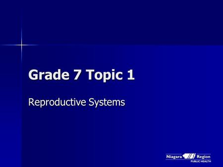 Grade 7 Topic 1 Reproductive Systems. Getting Ready …
