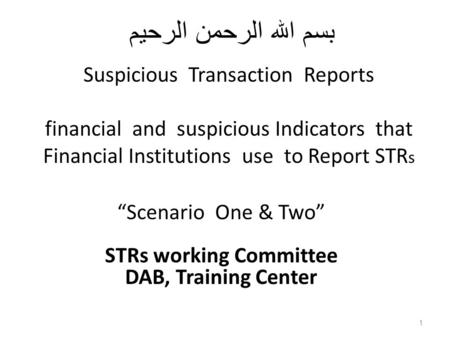 """Scenario One & Two"" STRs working Committee DAB, Training Center"