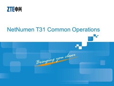 NetNumen T31 Common Operations. Objectives Master Basic Configurations of T31 Master Common Operations of T31.