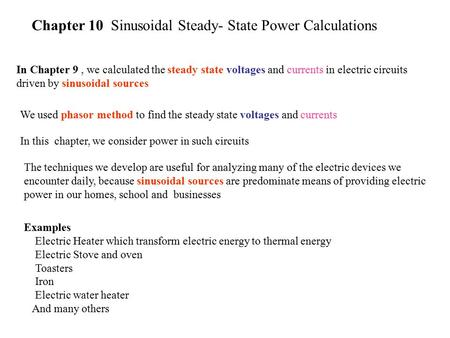 Chapter 10 Sinusoidal Steady- State Power Calculations