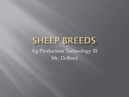 Ag Production Technology III Mr. DeBord.  Cheviot  Dorset  Hampshire  Suffolk  Shropshire  Southdown.