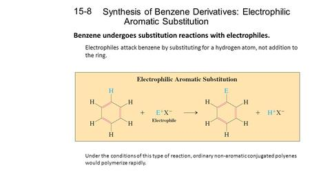 Synthesis of Benzene Derivatives: Electrophilic Aromatic Substitution 15-8 Benzene undergoes substitution reactions with electrophiles. Electrophiles attack.