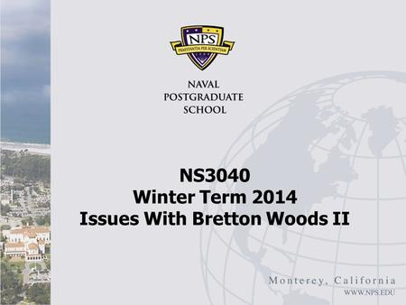 NS3040 Winter Term 2014 Issues With Bretton Woods II.