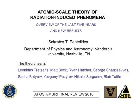 ATOMIC-SCALE THEORY OF RADIATION-INDUCED PHENOMENA Sokrates T. Pantelides Department of Physics and Astronomy, Vanderbilt University, Nashville, TN The.