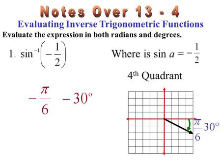 Evaluating Inverse Trigonometric Functions Evaluate the expression in both radians and degrees. Where is sin a = 4 th Quadrant.