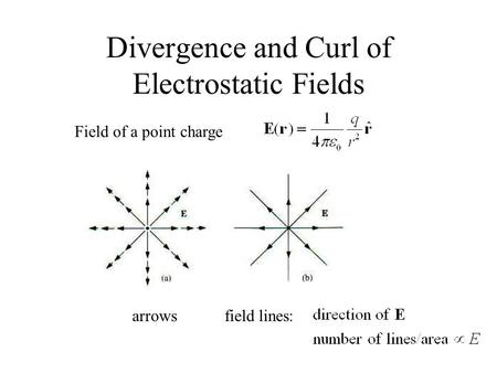 Divergence and Curl of Electrostatic Fields Field of a point charge arrowsfield lines:
