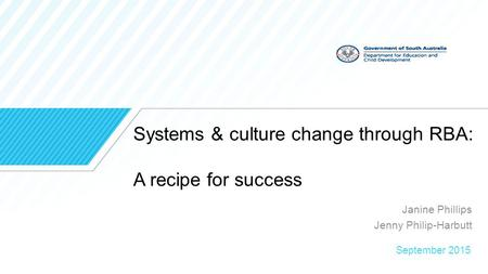 Systems & culture change through RBA: A recipe for success Janine Phillips Jenny Philip-Harbutt September 2015.
