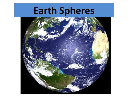 Earth Spheres. Define each: – Geosphere/Lithosphere – Atmosphere – Hydrosphere – Biosphere – Anthrosphere Define each: – Geosphere/Lithosphere – Atmosphere.