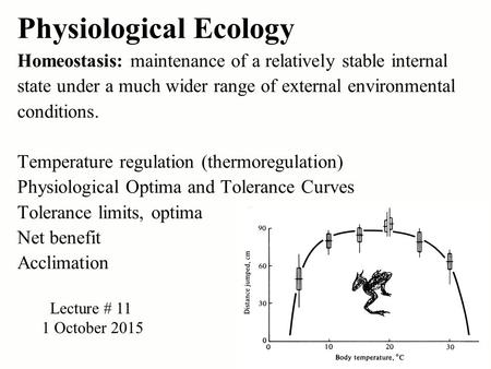 Physiological Ecology Homeostasis: maintenance of a relatively stable internal state under a much wider range of external environmental conditions. Temperature.
