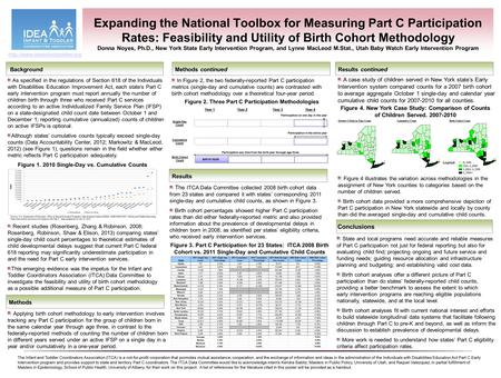Expanding the National Toolbox for Measuring Part C Participation Rates: Feasibility and Utility of Birth Cohort Methodology Donna Noyes, Ph.D., New York.