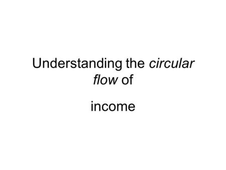 Understanding the circular flow of income. HOUSEHOLDS RESOURCE OWNERS Business firms Money payments Income payments Wages, Rent, Interest, Profits Consumer.