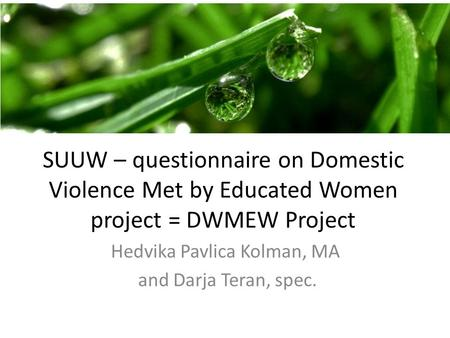SUUW – questionnaire on Domestic Violence Met by Educated Women project = DWMEW Project Hedvika Pavlica Kolman, MA and Darja Teran, spec.