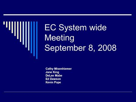EC System wide Meeting September 8, 2008 Cathy Misenhiemer Jane King DeLee Mabe Ed Dawson Kevin Pope.