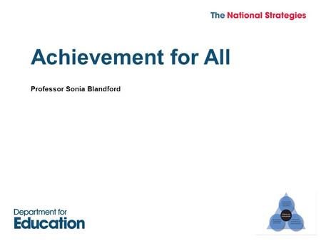 Achievement for All Professor Sonia Blandford.  Achievement for All takes a whole school approach to school improvement.  It is focused on improving.