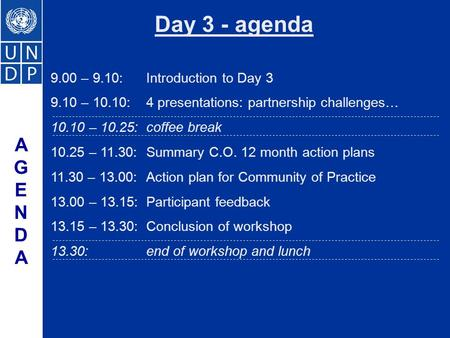 9.00 – 9.10:Introduction to Day 3 9.10 – 10.10:4 presentations: partnership challenges… 10.10 – 10.25:coffee break 10.25 – 11.30:Summary C.O. 12 month.