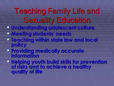 policy on sex education