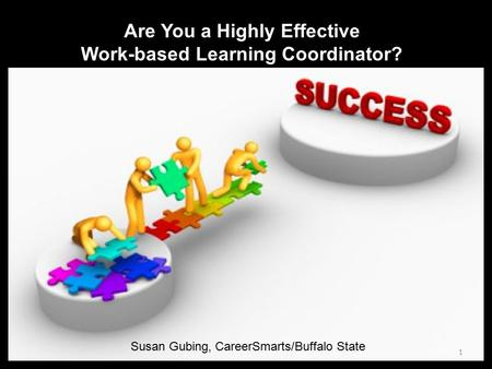 Are You a Highly Effective Work-based Learning Coordinator? Susan Gubing, CareerSmarts/Buffalo State 1.