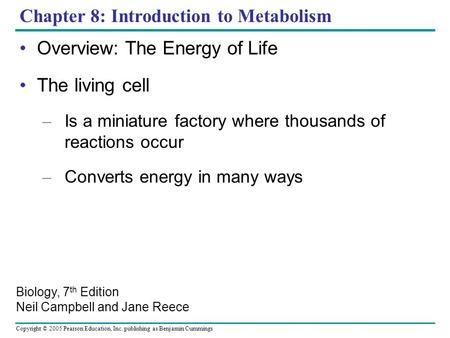 Copyright © 2005 Pearson Education, Inc. publishing as Benjamin Cummings Chapter 8: Introduction to Metabolism Overview: The Energy of Life The living.