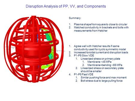Disruption Analysis of PP, VV, and Components Summary: 1.Plasma shape from square to close to circular 2.Matched conductivity in brackets and bolts with.