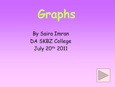 Graphs By Saira Imran DA SKBZ College July 20 th 2011.
