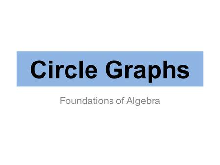 Circle Graphs Foundations of Algebra. A Circle Graph, a.k.a. Pie Chart, represents data as part of a circle. This is most effective for looking at parts.