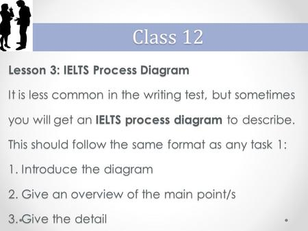 Lesson 3: IELTS Process Diagram It is less common in the writing test, but sometimes you will get an IELTS process diagram to describe. This should follow.