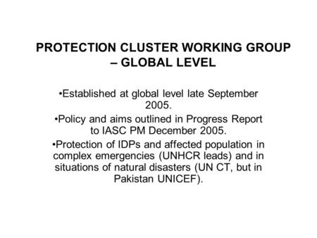 PROTECTION CLUSTER WORKING GROUP – GLOBAL LEVEL Established at global level late September 2005. Policy and aims outlined in Progress Report to IASC PM.