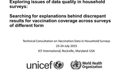 Exploring issues of data quality in household surveys: Searching for explanations behind discrepant results for vaccination coverage across surveys of.